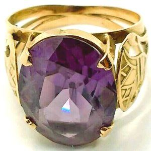 Egyptian Solid Gold Synthetic Alexanderite Ring